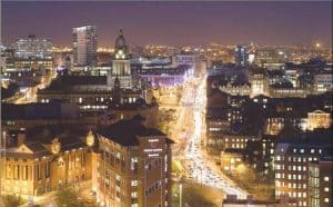 A picture showing Leeds at night