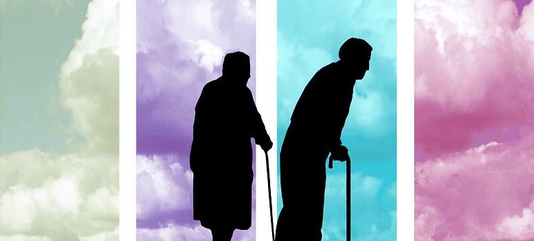 elderly people clouds