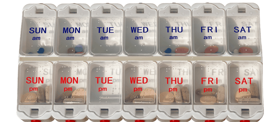 pill organiser with double sections for each day