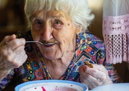 Dementia patient eating healthy